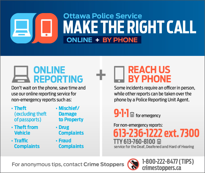Report to the OPS via 9-1-1, online or non-emergency line